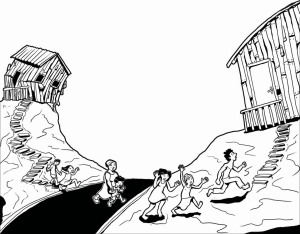 Uma das cenas descritas no livro: Quando a minha casa cai!